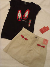 GYMBOREE Girls Size 5 or 6 Poppy Love Skort Shirt Outfit Set NWT