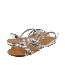 Women's Shoes Bamboo Ambra 63 Strappy Embellished Flat Sandals Silver *New*