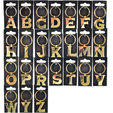 ALPHABETIC LETTER KEYRING ALPHABET CHARM GOLD INITIAL KEY RING KEYRINGS LETTERS