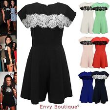 NEW LADIES WOMENS CELEB LACE BLACK EVENING PARTY PLAYSUIT ROMPER JUMPSUIT DRESS