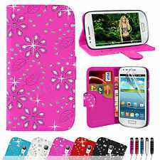 LEATHER FLIP WALLET CASE COVER FOR SAMSUNG GALAXY S3 MINI I8190 SCREEN PROTECTOR