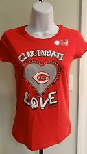"NWOT MLB Cincinnati Reds Girls ""Love"" Red Sparkly SS Tee - Sizes 5 (XS)-14 (XL)"
