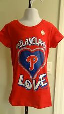 """NWOT MLB Philadelphia Philies Girls """"Love"""" Red Sparkly SS Tee - 5 (XS)-10/12(L)"""