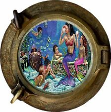 Huge 3D Porthole Fantasy Mermaids View Wall Stickers Film Mural Decal Wallpaper