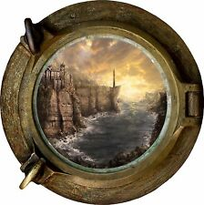 Huge 3D Porthole Fantasy Shore Lighthouse View Wall Stickers Film Decal Wallpape