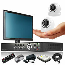 2 x Ultra Compacted Camera Full D1 4 CH DVR CCTV System All Inclusive + Monitor