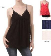 TRENDY LACE TRIMMED CAMISOLE STRETCH CAMI TANK TOP SIZE 1XL 2XL 3XL