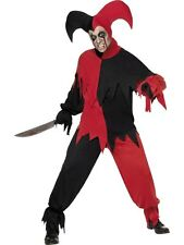 Adult Medieval Dark Court Jester Mens Halloween Party Fancy Dress Costume Outfit