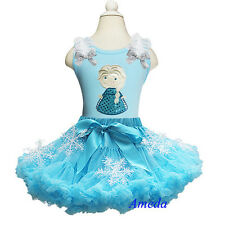 Girls Blue Pettiskirt Tutu Embroidered Elsa Princess Snowflake Party Dress 1-10Y