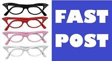 50'S GLASSES, RED/BLACK/WHITE/PINK, LADIES GREASER FANCY DRESS ROCK N ROLL SPECS