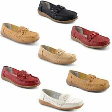 Womens Ladies Flat Low Heel Casual Formal Moccasin Loafers Boat Shoes Pumps