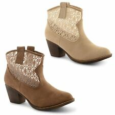New Ladies Dolcis Mid Heel Cut Out Mesh Cowboy Slip On Ankle Boots UK Sizes 3-8