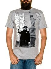 John Lennon Imagine Peace Grey T-shirt with Lennon by the Statue of Liberty