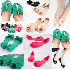 women casual summer bow crystal  candy color flat open toe sandals Jelly shoes