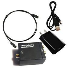 Digital Optical Coaxial Toslink Signal to Analog Audio Converter Adapter for TV