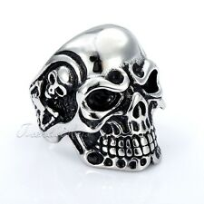 Mens Boys Ring Punk Demon Skull Skeleton Silver Tone 316L Stainless Steel Ring