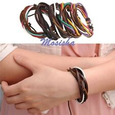 Multilayer Braided Waxed Cord Rope Real Leather Surf Surfer Wristband Bracelet