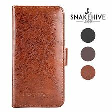 SNAKEHIVE® Genuine Real Leather Wallet Flip Case Cover for HTC One M8