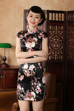 Charming Chinese women's silk mini dress Cheongsam Black Size: S M L XL XXL