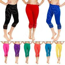New Womens Ladies 3/4 Length Lace Summer Hot Leggings Trousers Size S M XL 8 14