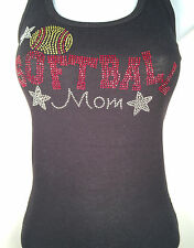 NEW RHINESTONE SOFTBALL MOM TANK TOP SHIRT BLACKS PLUS  SIZE: S,M,L,XL,2XL,3XL