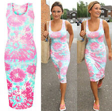 Womens Ladies Celeb Sam Faiers Tie Dye Splash Print Bodycon Long Midi Maxi Dress