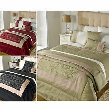 Gold Embroidered Floral Duvet Cover - Cotton Rich Quilt Cover Bedding Bed Set