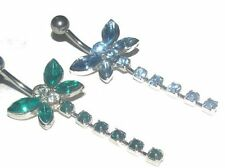 Crystal Dragonfly Navel Belly Bar - Dark Green or Blue