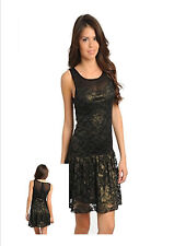 Sleeveless Black Drop Waist Dress Casual Gold Lace Women Urban Mini Slim Fitted