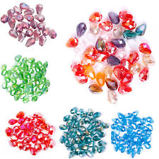 Free ship Lots 100pcs AB Color Rhinestone Crystal Teardrop Spacer Beads 8x6mm