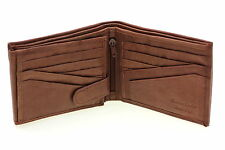 Mens Leather Wallet Bifold Flap Out Security Snap 2 Bill Section 12 Card Slots