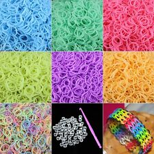 New 600 Glow In The Dark Rubber Bands 24 Clip 1 Hook Rainbow Loom Refill DIY Kit