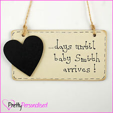 Personalised Birth Countdown Plaque Pregnancy Baby Shower Gift Present Mum To Be