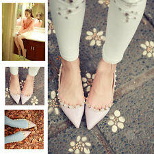Womens Shoes Warren Pointed Shoes Rivet Flat Shoes NEW on line lady Cheap shoes
