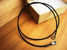 1.5mm Leather Cord Necklace - Antiqued Sterling Silver Clasp/ends - Black - mens