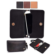 Full Grain Genuine Leather Wristlet Wallet Case fits Motorola / ZTE Mobile Phone
