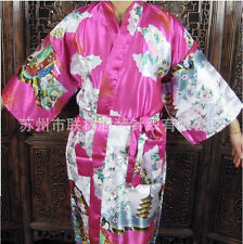 Chinese Silk Women's Kimono Robe Gown sleepwear plum red Sz: M L XL XXL XXXL
