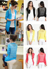 Japanese Cotton Blend Knit Lace Cardigan Womens Tops Sunshade Coat Girl's Blouse
