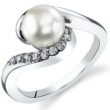 Oravo Sterling Silver Round Cut Cultured Pearl Ring