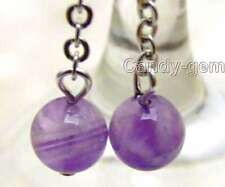 Small 6mm Round Purple Natural Amethyst dangle earring silver S925 hook-395