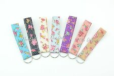 Floral Print Wristlet Fabric Lanyard Key Fob Key Chain for ID Badge Holder