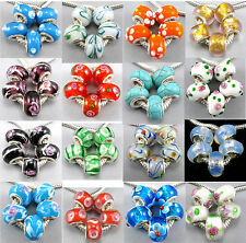 Wholesale Silver Flowers Murano Glass Cute Core Beads Fit Charms Bracelet CY616