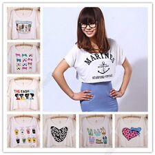 Ladies Short Sleeve Cartoon Pattern T-Shirt Cropped Top Batwing Sleeve Blouse