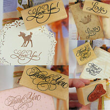 Thank You Love Wooden Stamp Rubber Scrapbooking Craft Wedding Party Card Making