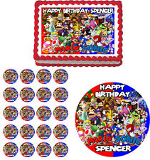 SONIC & MARIO Edible Birthday Cake Topper Cupcake Image Party Decoration
