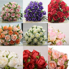 26 Heads Artificial Silk Roses Posy Wedding Bridal Party Bouquet Flowers Decor
