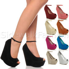 WOMENS LADIES HIGH HEEL PLATFORM PEEP TOE ANKLE STRAP WEDGE SHOES SIZE