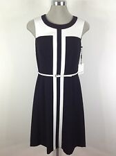Calvin Klein Elegant Dress Black and White color block  With White Belt