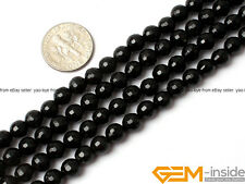 """Natural 6mm Round Faceted Black Agate Gemstone Jewelry Making Beads strand 15"""""""