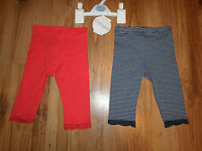 NEW WITH TAGS 2 PACK GIRLS LEGGINGS MARKS & SPENCER RED/NAVY